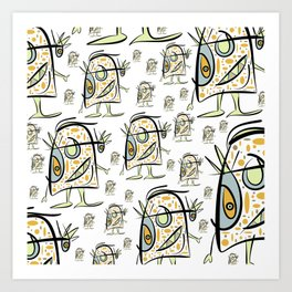 Scribbehead_Shower Curtin Art Print