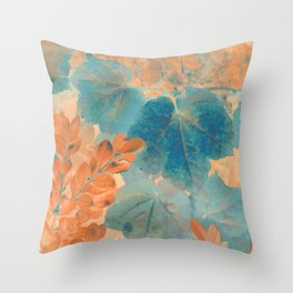 Blue and Orange Autumn Leaves Throw Pillow