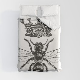 Queen Bee | Vintage Bee with Crown | Black and White | Duvet Cover