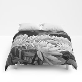 Water Lily in Black and White Comforters