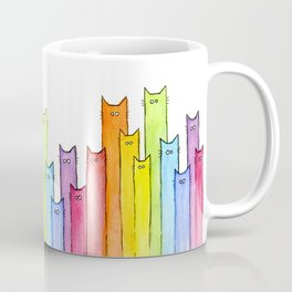 Rainbow of Cats Funny Whimsical Colorful Cat Animals Coffee Mug