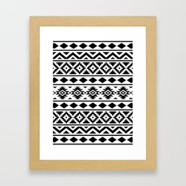 Aztec Essence Ptn III Black on White Framed Art Print