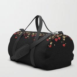 Beautiful glitter shine hearts on black Valentines Day greeting Duffle Bag