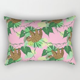 Sloth - Green on Pink Rectangular Pillow