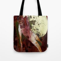 demon Tote Bags featuring demon by anobviousaside