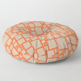abstract cells pattern in orange and beige Floor Pillow