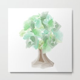 Watercolor tree with a wide trunk Metal Print
