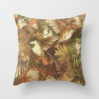 red Throw Pillows featuring Red-Throated, Black-capped, Spotted, Barred by Teagan White