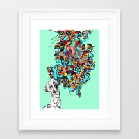 brain waves Framed Art Prints featuring Brain Drain by Rat McDirtmouth