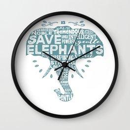 Save Elephants - Word Cloud Silhouette Wall Clock