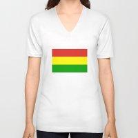religion V-neck T-shirts featuring rastafarian religion flag reggae by tony tudor