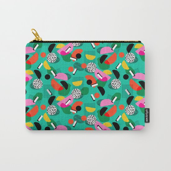 Flange - memphis inspired pop art retro throwback 1980s neon style art print decor hipster socal Carry-All Pouch