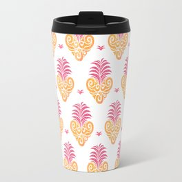 Polynesian Tiki Heart Pattern Travel Mug