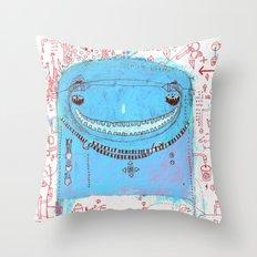 Blue Monster Throw Pillow