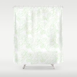 Monstera (White Glow) - Mint Shower Curtain
