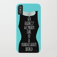 kardashian iPhone & iPod Cases featuring An Audrey Hepburn girl in a Kardashian world (in blue) by Miss Golightly