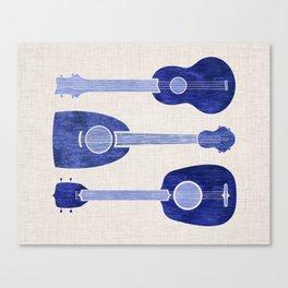 Indigo Blue Ukuleles Canvas Print