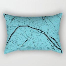 Paris France Minimal Street Map - Turquoise on Black Rectangular Pillow