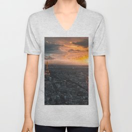 Sunset in the city of love Unisex V-Neck
