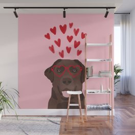 Chocolate Lab love heart glasses cute pet gifts valentines day labrador retriever Wall Mural