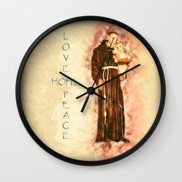 St. Francis Peace, Hope, Love Wall Clock