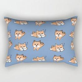 Cool Blue Shiba Pattern Rectangular Pillow