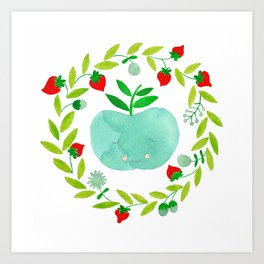 mint apple with wreath and strawberries watercolor Art Print