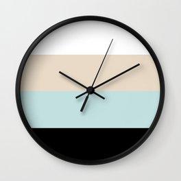 Striped Black Light Teal Wall Clock