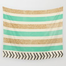 MINT AND GOLD STRIPES AND ARROWS Wall Tapestry
