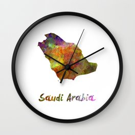 Saudi Arabia in watercolor Wall Clock
