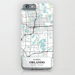 Orlando Florida City Map with GPS Coordinates iPhone Case