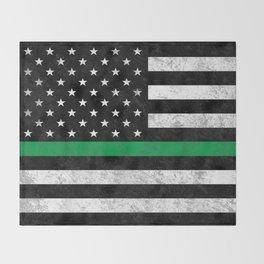 Thin Green Line Flag Throw Blanket