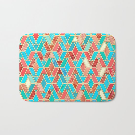 Melon and Aqua Geometric Tile Pattern Bath Mat