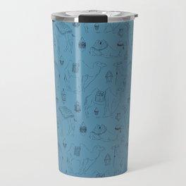 Linocut Camels No. 3 in Blue Travel Mug