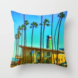Balboa Peninsula Palms Throw Pillow