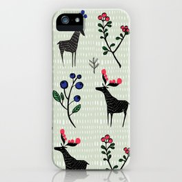 Berry loving deers on a green background iPhone Case