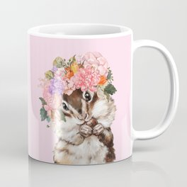 Baby Squirrel with Flowers Crown in Pink Coffee Mug