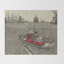 Morgan Tugboat, Hudson river, New York Throw Blanket