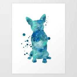 Boston Terrier Dog Watercolor Painting Blue Turquoise Aqua Mint Art Print