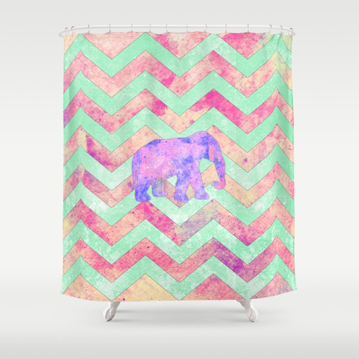 Whimsical Purple Elephant Mint Green Pink Chevron Shower Curtain