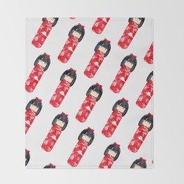 Kokeshi Doll - diagonal Throw Blanket
