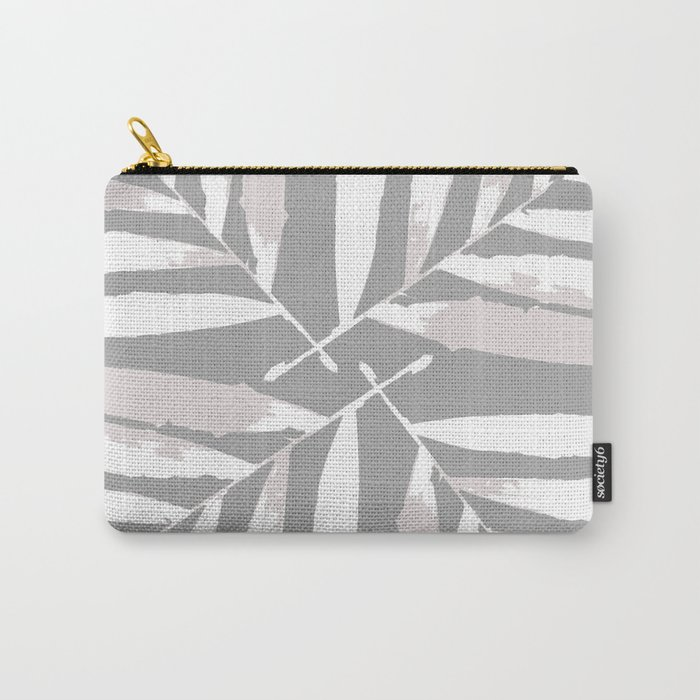 Geometric white light grey silver autumn fall tropical pattern Palm leaves Christmas, Xmas ,society6 Carry-All Pouch