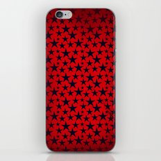 Dark stars on grunge textured bold red background iPhone & iPod Skin