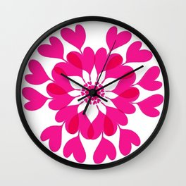 Connected Hearts In Pink and Red Wall Clock