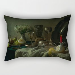 Still life with metal dishes, fruits and fresh flowers Rectangular Pillow