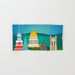 Charleston, West Virginia - Skyline Illustration by Loose Petals Hand & Bath Towel