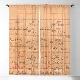 Library Card 23322 Orange Sheer Curtain