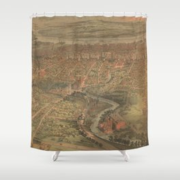 Vintage Pictorial Map of Hartford Connecticut (1864) Shower Curtain