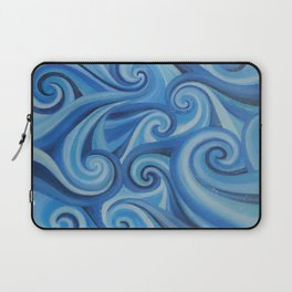 Parting Waves abstract ocean sea swirls painting Laptop Sleeve