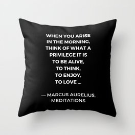 Stoic Wisdom Quotes - Marcus Aurelius Meditations - What a privilege it is to be alive Throw Pillow